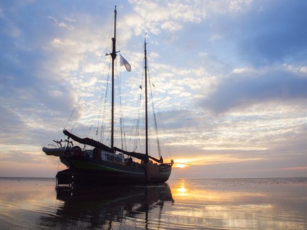 Droogvallen op zandbank Wad @Gouden Vloot Zeilreizen
